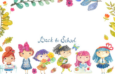 Welcome back to school, Cute watercolor school kids