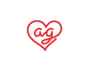 Lowercase letter ag and heart 1