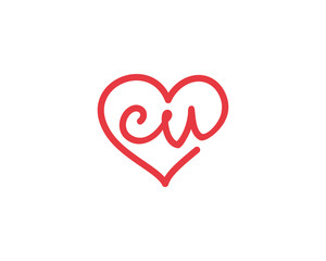 Lowercase letter cv and heart 1