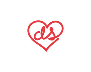 Lowercase letter ds and heart 1