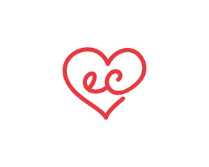 Lowercase letter ec and heart 1