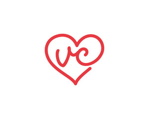 Lowercase letter vc and heart 1