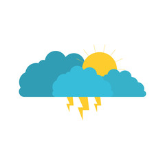 clouds with lightnings and sun in colorful silhouette on white background