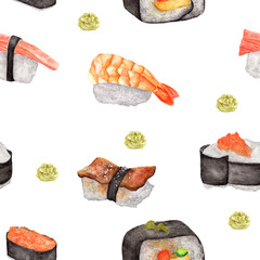 Seamless pattern of Sushi and Wasabi. Watercolor food pattern.