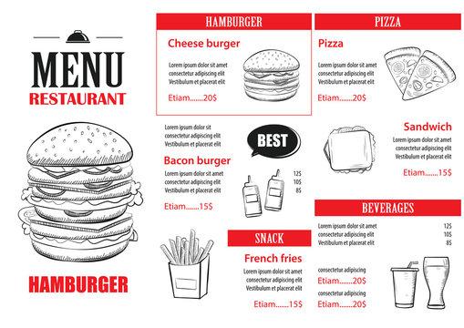 Fast food menu design template. Restaurant or cafe hamburger cover hand drawn background.