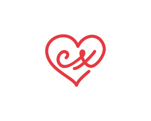 Lowercase letter cx and heart 1