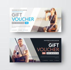 Design of a vector gift voucher with diagonal lines and a place for the image