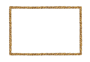 Watercolor painting of Brown Rope frame on white background