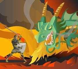 fantasy knight fighting a green fire breathing dragon