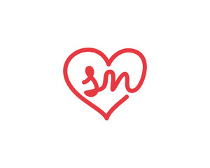 Lowercase letter sn and heart 1