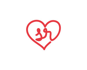 Lowercase letter sr and heart 1