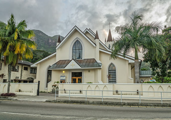 A white building of catholic chirch, Victoria, Seychelles