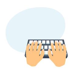 Hands use computer keyboard