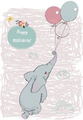 cute elephant fly with balloons
