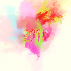2018 Year, digital watercolour. Brights colors splashes
