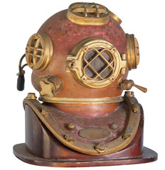 Antique, Brass Diving Helmet on a White Background