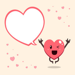 Cartoon heart character with speech bubble