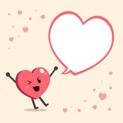 Vector cartoon big heart character with speech bubble