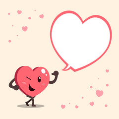 Vector cartoon heart character with big white speech bubble
