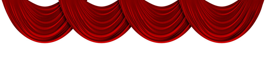Red fabric theatre curtains on a plain white background. 3D Rendering