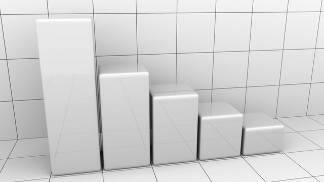 Descending chart or bar graph. Business decline or crisis concepts. 3D rendering