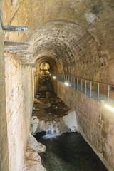 Vault of the cerezuelo river, under the ruins of the church of Santa María, Cazorla, Jaen, Spain