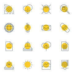Vector Illustration Of 16 Web Icons. Editable Pack Of Letter, Server, Sheet And Other Elements.