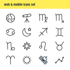 Vector Illustration Of 16 Constellation Icons. Editable Pack Of Geometric, Satellite, Night And Other Elements.