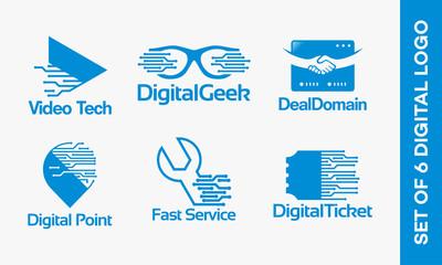 Set Of Video Technology logo, Digital Geek Logo, Domain Deal Logo, Point Tech logo, Fast Service logo, Digital Coupon logo vector illustration