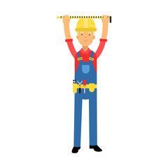 Builder character in overalls with belt with tools measuring on real construction site cartoon vector Illustration