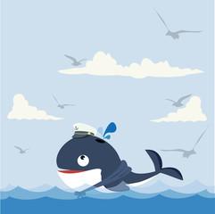 Cute  whale in sea