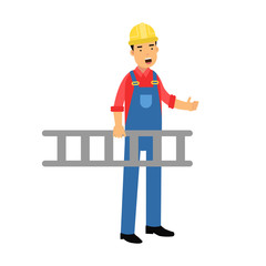 Male construction worker character carrying a ladder cartoon vector Illustration