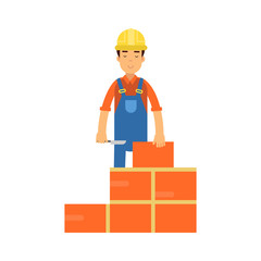Construction worker bricklayer making a brickwork with trowel and cement mortar cartoon vector Illustration