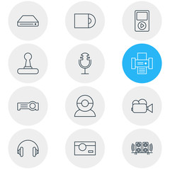 Vector Illustration Of 12 Device Icons. Editable Pack Of Sound Recording, Media Controller, Photography And Other Elements.