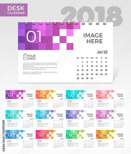 Desk Calendar 2018 Simple Colorful Pixels Minimal Elegant Desk