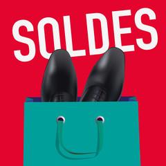 soldes - affiche - chaussure - publicité - homme -promo - pub