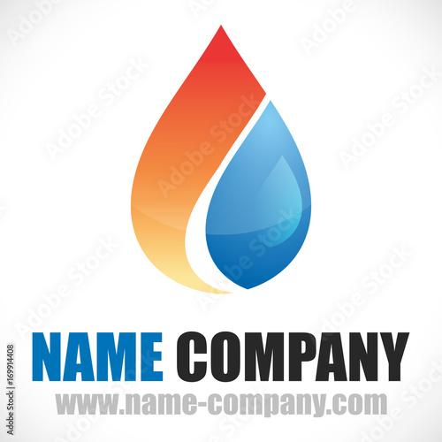 Logo Plombier Chauffagiste Artisan Goute Deau Flamme Feu