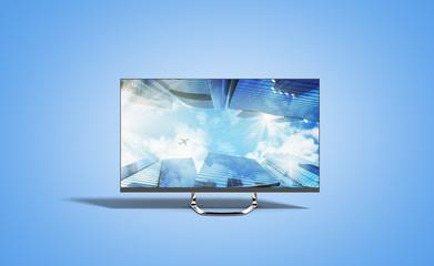 4k monitor 3d render image on blue background