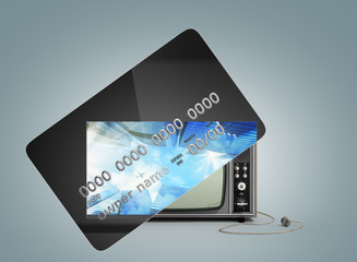Concept of new opportunities A new tv instead of a camp on a credit card Money transactions Crediting 3d render