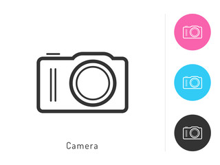 Camera icon vector. Camera symbol for your web site design, logo, app. One of a set of linear electronics icons.