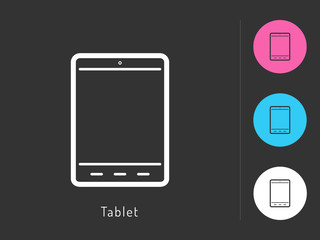 Tablet icon vector. Tablet symbol for your web site design, logo, app. One of a set of linear electronics icons.