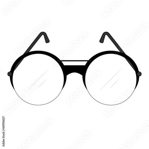 b889b1e1967 Classic retro fashionable glasses with round lenses and temples with frame  and lenses of circle shape for men. Vector drawing.