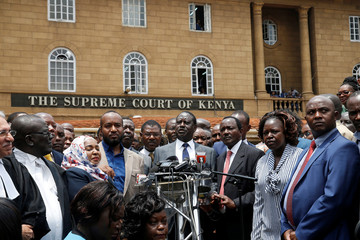 Opposition leader Raila Odinga speaks at a news conference outside the court after President Uhuru Kenyatta's election win was declared invalid in Nairobi