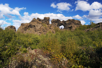 Dimmuborgir - a rocky town in northern Iceland with lava fields, rock formations and volcanic caves