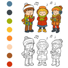 Coloring book, Kids Christmas Choir
