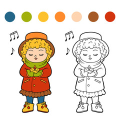 Coloring book for children, Girl singing a Christmas song