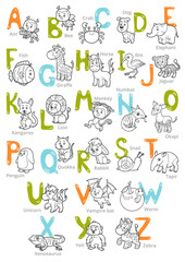 Vector black and white zoo alphabet with cute animals