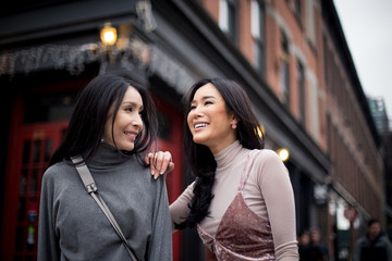 Pretty girlfriends having fun in the meatpacking district of New York