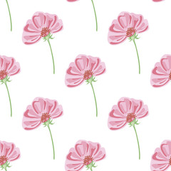 Vector seamless pattern of isolated pink flower