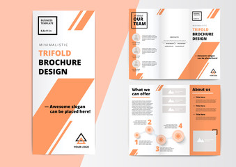 Сorporate presentation trifold brochure design. Creative business proposal or annual report. Vector flyer template with infographics layouts. Startup project advertising leaflet.